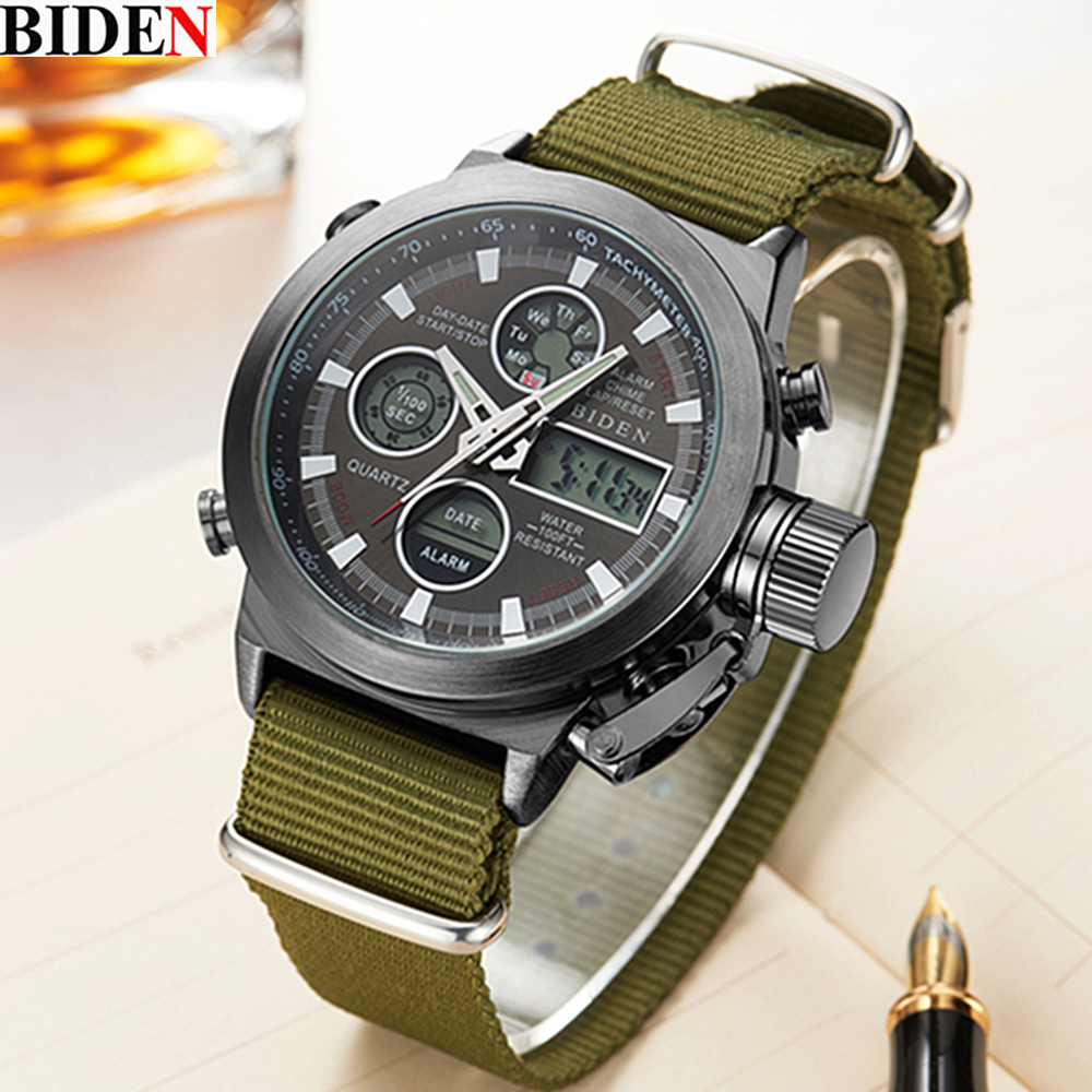 Hot sale men Watches Brand BIDEN Sport Diving LED display wristwatch Fashion Casual Leather strap watches Mens Montre Homme<br><br>Aliexpress