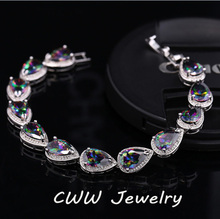 CWWZircons Created Gemstone Bracelet Jewelry Pear Shape Luxury Multi Color CZ Cluster Bracelets For Girls or Mothers Gift CB120