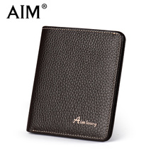 AIM Brand Genuine Leather Men Wallet Fashion Thin Small Wallet Vintage Male Short Purse Cowhide Leather Wallets Card Holder Q205