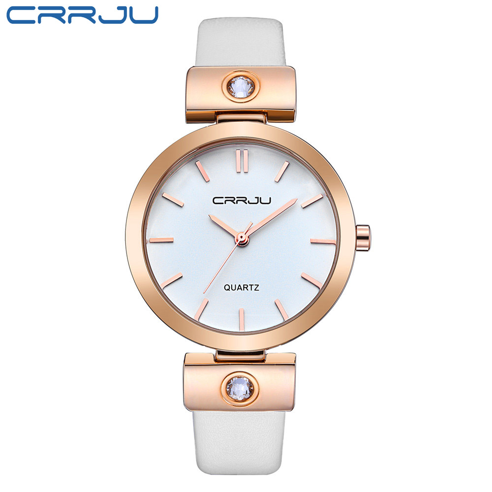 CRRJU Rose gold Women Watches Luxury High Quality Water Resistant Montre Femme Leather 2017 Top Brand Dress Woman Wrist Watches<br><br>Aliexpress