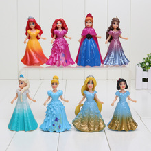 9CM 8pcs/lot PVC Princess Cinderella Elsa Anna Action Figure set doll dress can change clothes Classic Toys kids toys for girl