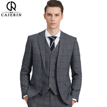 Cajerin Men Clothing Smart Casual Tailor Blazer Suits (Jacket+Pants+Vest) Slim Fit Lattice Formal Groom Suit For Custom Made(China)