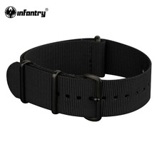 Infantry 20mm Watch Straps Army Sport All Black G10 Nylon Canvas Strap 4 Rings Durable Bands For Watches Watchbands(Hong Kong)