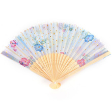 New Random Color e 1 Pieces Retro Classical Chinese Fan Folding Bamboo Flower Pattern Lace Hand Fan Decor(China)