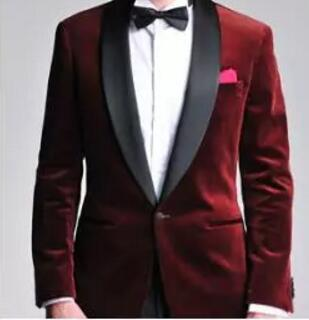Burgundy Velvet Slim Fit Groom Tuxedos Wedding Suits Custom Made Groomsmen Best Man Prom Suits Black Pants (Jacket+Pants+Bo