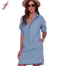 Feitong New Summer women casual socket female long washed loose Long sleeve do old cowboy denim Shirt dress vestidos