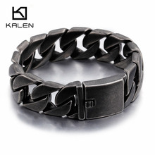 Kalen Heavy Chunky 20mm Width Men's Brushed Bike Chain Bracelets 22cm Long Matte Stainless Steel Dark Dull Link Chain Bracelets(China)