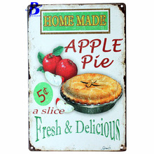 Metal Car Signs Home Made Apple Pie Fresh & Delicious.vintage Tin Metal Sign Wall Decoration of Pizzeria Cake Custom Neon Sign(China)