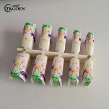 TKGOES 100PCS/Pack Beauty  Flower Pre Designs Nail Tips For Finger False Acrylic Nail Tips French Nail Tips NEW F238