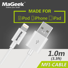 MaGeek 1.0m/3.3ft Mobile Phone Cables MFi Lightning to USB Cable for iPhone 6 6s 5s iPad 4 mini Air 2 iOS 8 9 10(China)