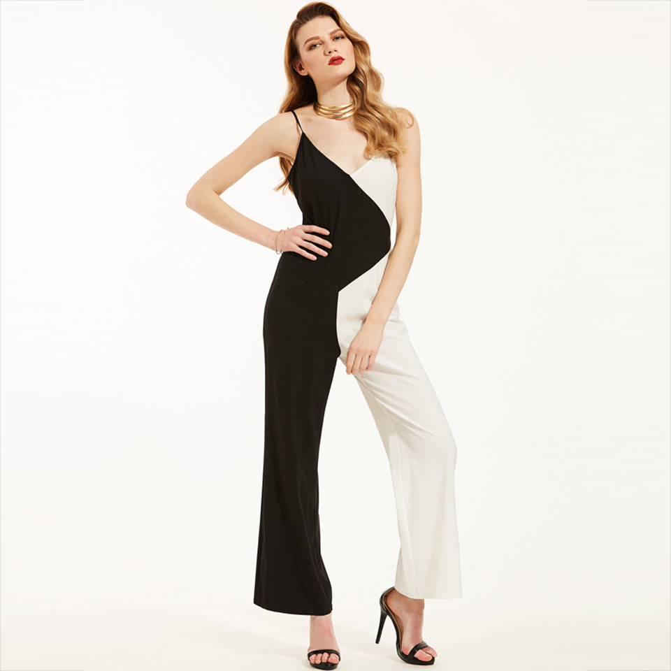 Young17 Women Jumpsuits Black Trousers Straight Full Length Color Block Hollow Summer Fashion Casual Jumpsuit Women Jumpsuit 3