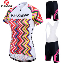 X-Tiger Felicia Women Summer 100% Polyester MTB Bike Shirt Breathable Bicycle Clothes Cycling Clothing 2017 Cycling Jersey Set(China)