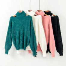 Cashmere Sweater Women Pullover Knitted Sweater Scarf Collar Long Sleeve  Off Shoulder Jumpers Lantern Sleeve Solid a39ec7d3c