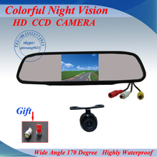 "Promotion Car Rear View Camera  Back up Camera + 4.3"" Mirror monitor+parking assistance Rearview kits Free shipping"