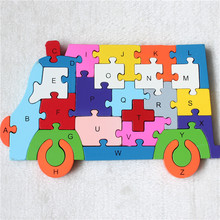 Cartoon Animal Bear Wooden Puzzles toys Children Ambulance Jigsaw English Letters and Numerals Educational Brain Game toys Gifts(China)
