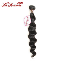 "ALI ANNABELLE HAIR Peruvian Loose Wave Machine Double Hair Weft 100% Remy Human Hair Weave Bundles 10""-28""Natural Black(China)"