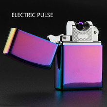 New luxury brand electric pulse ligther Metal USB charging windproof lighters Flameless electronic cigarette lighter for man