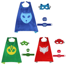 PJ Masks costumes for kids 3pcs/set PJ Masks cloak Cape and Mask Owlette Catboy Gecko Cosplay Action Toys For Children party