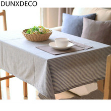 DUNXDECO Table Cloth Linen Cotton Stripe Table Cover Party Decoration Desk Accessories Vintage Country Style Pattern