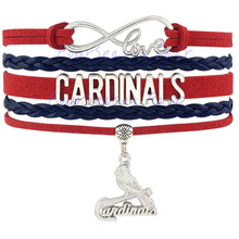 Custom-Infinity Love Cardinals Baseball MLB Bracelet Wrap Braided Leather Bracelet Bangles for Base ball Team Fans-Drop Shipping