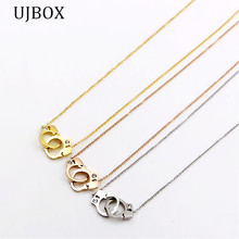 UJBOX Brand Jewelry Crystal Handcuffs Pendant Necklace For Women Stainless Steel Chain Pendant Women Jewelry Hot Sale NE350UX