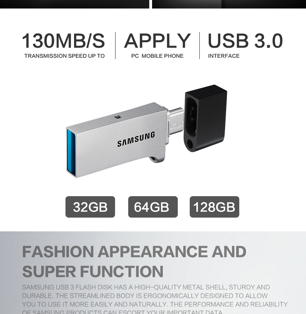 SAMSUNG USB Flash Drive Disk OTG 32G 64G 128G USB3.0 flash disk Pendrive Memory Stick Storage Device U Disk For Mobile Phone