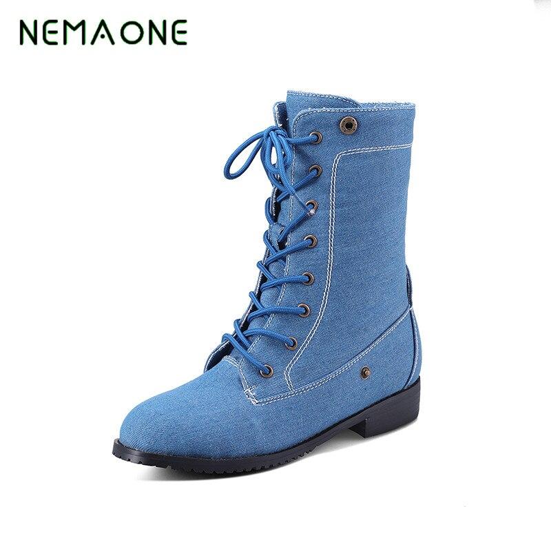 NEMAONE 2017 Gladiator Snow Boots Women flats Heels Half Short Boot Ladies Warm Plush winter Boots Leisure Shoes Woman<br>