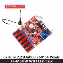 LYSONLED Hot Sale TF-M6UW WIFI & USB Driver LED Display Control Card 2xHUB08 6xHUB12 Max768*64Pixels P10 Single Color LED Module(China)
