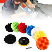"10Pcs Car Polishing Pad set Polishing Buffer Waxing Buffing Pad Drill Kit Car Polishing sponge Wheel Kit polisher 3"" 4"" 5"" 6"" 7""(China)"