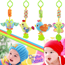 Top Sale Baby Rattles 39cm 4 style Soft Plush Toy Sound Teether New Chicken Bird Bee Owl Toy Car Ring Bell Crib Infant Baby Doll(China)