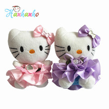 Wholesale 12pcs/Lot 10cm Mini Plush Hello Kitty Doll Bouquet Accesories Wedding Supplies Small Pendant