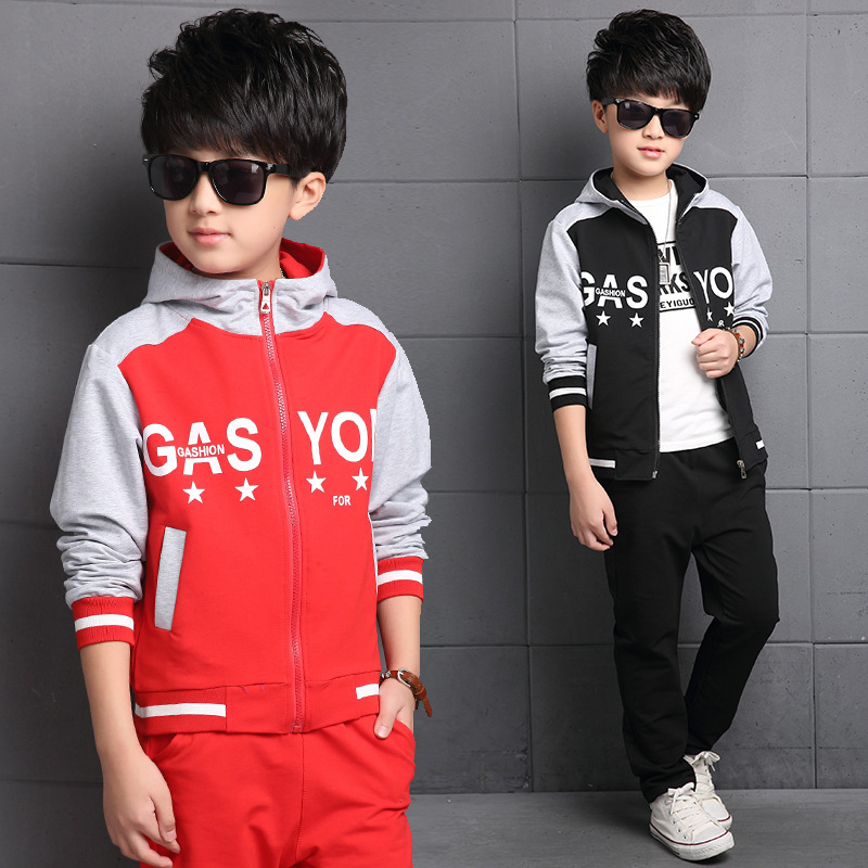 Cotton Hooded Baby Boys Track Suit Kids Clothes Sets Children Outerwear Clothing Sets For 5-14 Years Old<br><br>Aliexpress