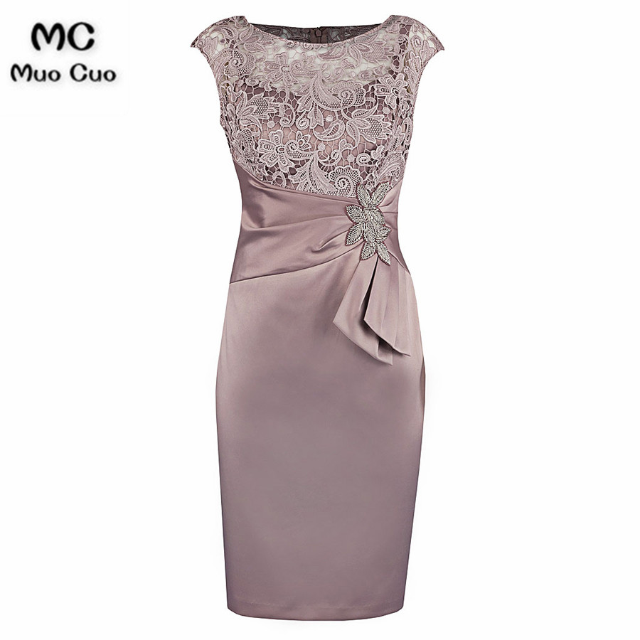 Sheath Bateau Cap Sleeves Elastic Satin Mother Of The Bride Dress with Lace Beading