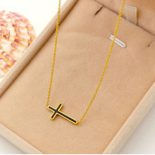 Black glaze enamel horizontal Cross Pendants Necklaces, Stainless steel perfumes love Necklace Women lady low price wholesale(China)