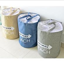 Free Shipping large capacity shopping bag,Unique Foldable Cotton Linen Washing Clothes Laundry Basket Bag Hamper Storage 0747(China)