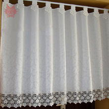 American style off white floral jacquard lace half-curtain bay window curtain for coffee kitchen room SP3252 Free shipping