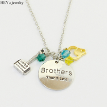 Sci-Fi Action Movie Thor Necklace Thor & Loki Brothers letter necklace Thor Helmet Blue Crystal Pendant Necklace For Fans Gift