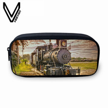 VEEVANV Vintage Locomotive 3D Prints Pencil Case Girls Large Wallets Coin Case Purse Fashion Stationery Pounch Women Makeup Bags(China)