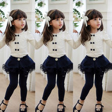 Lovely Kids Baby Girl Bow Tie Blouses Cotton Floral Lace Tops shirt Clothes White Blue