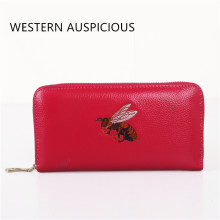 WESTERN AUSPICIOUS Women Purse Zipper Long Style Cowskin Leather Female Wallet With Embroidery Pattern Women Wallets Billetera