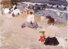 Landscape beach People Sitting on the Beach Joaquin Sorolla y Bastida oil painting on canvas Handmade High quality(China)