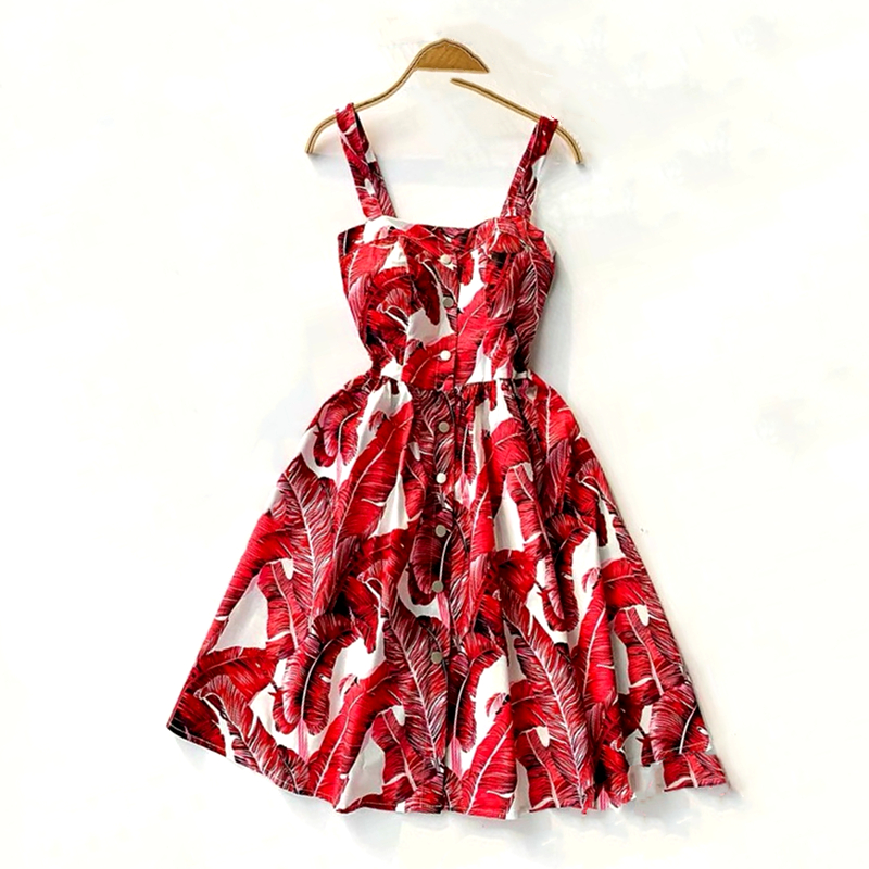 Marwin 19 New-Coming Summer Women Spaghetti Strap Print Floral Sleeveless Empire Beach Dresses High Street Style 11