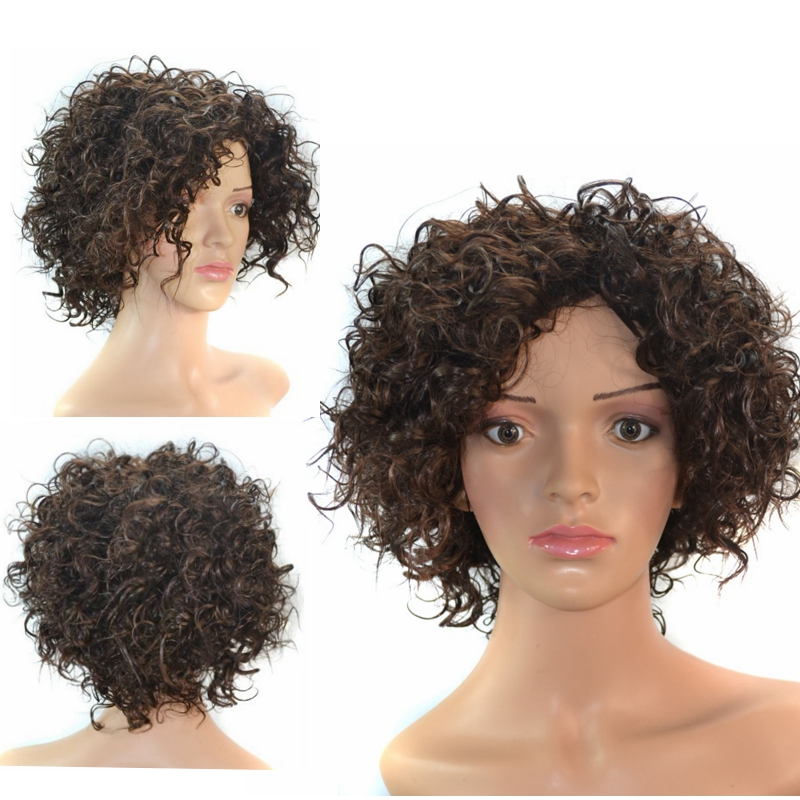 Wig WW2-02# for black women SMALL CURL afro WIGs heat resistant synthetic hair free cap &amp; clip &amp; comb<br><br>Aliexpress