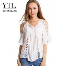 Buy 2017 Summer t-shirt cute female white hole hollow shoulder tie blouse sexy v neck crochet shoulder tops women for $8.49 in AliExpress store