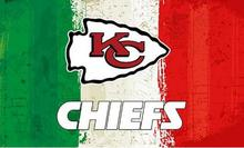 NFL Green white red Stripes Kansas City Chiefs flag Oil painting style banner 3ftx5ft 100D Polyester custom Flags(China)