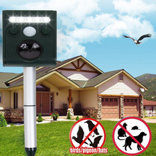 Outdoor Garden Ultrasonic Wave Repeller Solar Powered Rechargable Animal and Birds  Chaser Repeller with Strong Flash LED Light