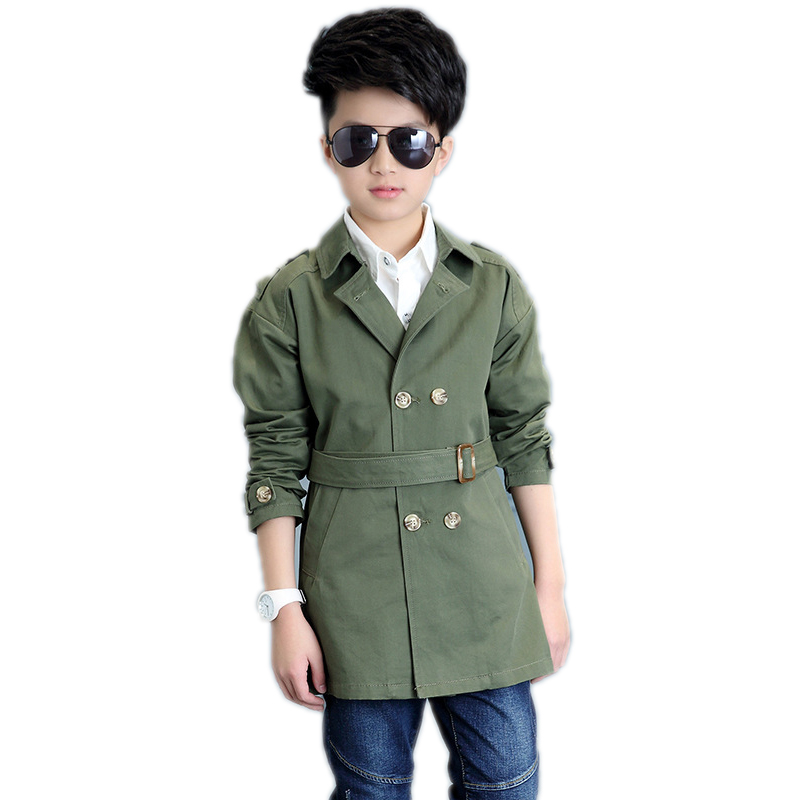 kids jacket boys 2017 new spring medium long double breasted children jackets solid belt kids trench for boys 5-11T boys outwear<br><br>Aliexpress
