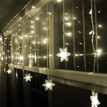 2017 White 3.5M Snowflake LED String Curtain Lights Holiday Xmas Wedding Decor Christmas Home Garden Decoration Lamp Drop Ship(China)