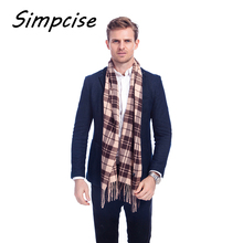[Simpcise] Hot Design brand scarf unisex plaid men scarf with tassel winter warm soft Imitation wool scarf A3A17533(China)
