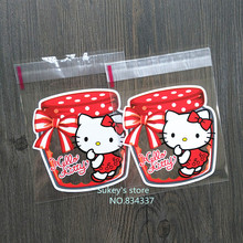 100pcs/lot New product 2size Hello kitty cookie plastic packaging bags 10x10cm self adhesive bags(China)